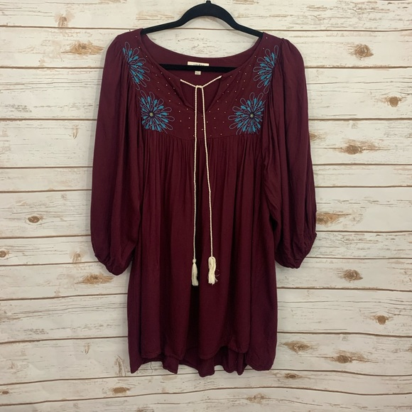 UMGEE Burgundy Boho Tassel Tie Tunic Dress…